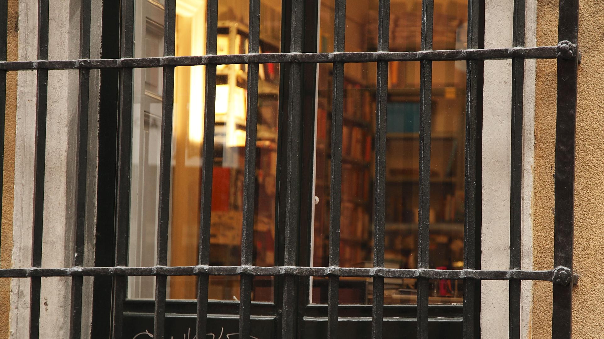 Tras la reja y la ventana se divisa una acogedora biblioteca